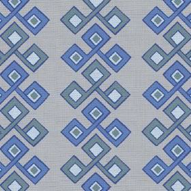 Togo (Cotton) - 2 - Cotton fabric with a repeated geometric design of interlocking squares in several different shades of blue