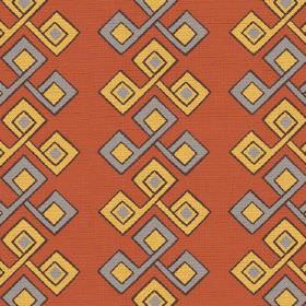 Togo (Linen Union) - 3 - Burnt orange coloured linen fabric covered in rows of a repeated pattern of squares in grey and mustard yellow