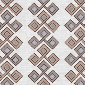 Togo (Linen Union) - 4 - Grey, beige and light blue squares making up a geometric design to be repeated over white linen fabric