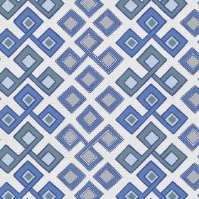 Togo Allover (Cotton) - 2 - Interlocking and individual squares in shades of blue, grey and teal, printed onto white cotton fabric