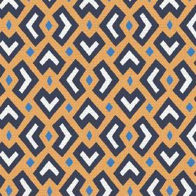 Cape Town (Linen Union) - 1 - Light orange fabric made from linen, printed with an African style design in black, white and blue