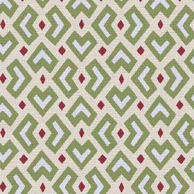 Cape Town (Linen Union) - 2 - Green, white and dark pink-purple shapes in an African style design printed on a cream linen fabric background