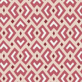 Cape Town (Cotton) - 3 - Light red, dark red and white coloured geometric shapes printed on a cream coloured cotton fabric background