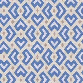 Cape Town (Cotton) - 4 - Cobalt blue and white geometric shapes with grey diamonds on a fabric background made from cream coloured cotton