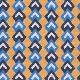 Kenia (Cotton) - 1 - Rows of white chevrons with borders in two different shades of blue, printed onto pumpkin coloured cotton fabric