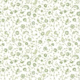 Alessandria Trail (Linen Union) - 2 - Green paisley shapes, vines and flowers scattered over white linen fabric