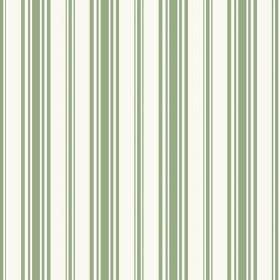 Alessandria Stripe (Cotton) - 2 - White cotton fabric with vertical green stripes of different widths
