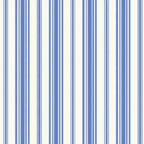 Alessandria Stripe (Linen Union) - 3 - Cobalt blue stripes of different widths printed on a white linen fabric background