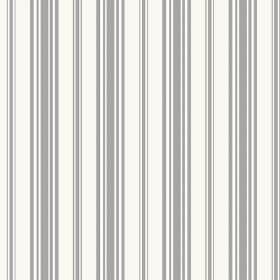 Alessandria Stripe (Cotton) - 4 - Grey stripes of different widths printed on white cotton fabric