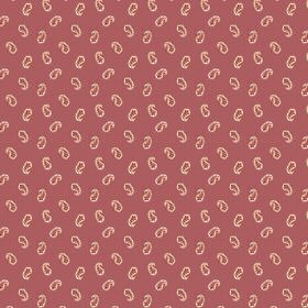 Tomas (Linen Union) - 1 - Dusky red linen featuring a design of tiny, scattered salmon pink paisley shapes
