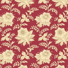 Alsace (Linen Union) - 1 - Deep red coloured linen fabric with creamy, yellowy, gold coloured shaded flowers