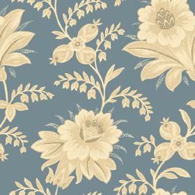Alsace (Linen Union) - 2 - Close-up of blue linen fabric showing the shading on the cream-yellow shaded floral print