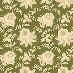 Alsace (Cotton) - 6 - Plain forest green cotton fabric, decorated with cream and pale yellow coloured vintage style flowers