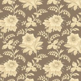 Alsace (Linen Union) - 7 - Linen fabric in brown, with a floral pattern in shades of cream and yellow