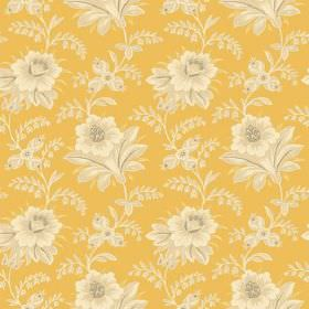 Alsace (Linen Union) - 8 - Bright, mustard yellow coloured linen fabric, with a pattern of large cream flowers which have been shaded