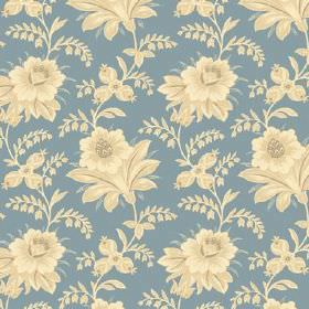 Alsace (Cotton) - 9 - Fabric made from cotton in a dark shade of duck egg blue, with a floral pattern in cream tones