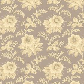 Alsace (Linen Union) - 10 - A shaded floral design repeatedly printed onto light grey-brown linen fabric