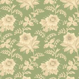 Alsace (Cotton) - 11 - Flowers and leaves in shades of cream and light yellow, printed on a bright green cotton fabric background