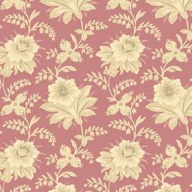 Alsace (Linen Union) - 12 - A repeated floral design of vintage inspired cream and pale yellow flowers printed onto dusky pink coloured line