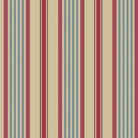 Knot (Linen Union) - 1 - Dark red, denim blue and dark cream coloured stripes printed onto linen fabric