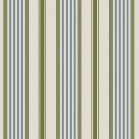 Knot (Cotton) - 2 - Chalk white cotton fabric covered in vertical stripes of denim blue and forest green