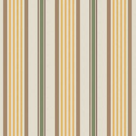 Knot (Cotton) - 4 - Cream coloured cotton fabric with regularly spaced stripes of brown, mustard yellow and green