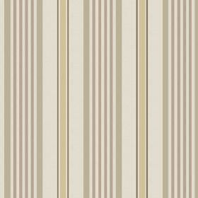 Knot (Cotton) - 5 - A striped design of cream, brown, green-grey and straw colours printed on cotton fabric