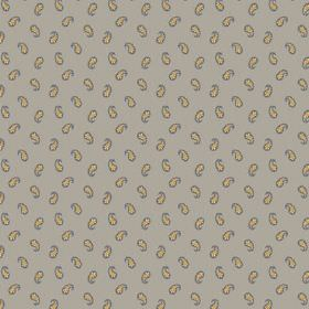 Tomas (Cotton) - 3 - Grey cotton fabric covered in simple yellow paisley shapes which have been edged with blue
