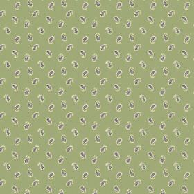 Tomas (Linen Union) - 4 - Linen fabric with a light green background behind small, simple grey paisley shapes which have been edged in white