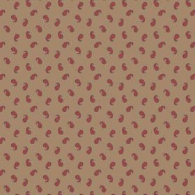 Tomas (Cotton) - 5 - Paisley shapes in dark red, printed randomly over brown cotton fabric