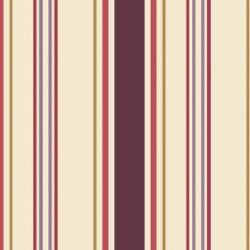 Anenome Stripe (Cotton) - 1 - Cream cotton fabric with stripes of different widths in colours including dark pink, green, red and two shades