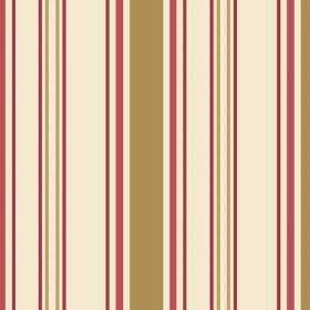 Anenome Stripe (Cotton) - 2 - Olive green, gold, light red and dark red stripes printed on a magnolia coloured cotton fabric background