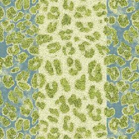 Leopard Stripe (Cotton) - 1 - Lime green coloured animal print shapes covering a blue and cream striped cotton fabric
