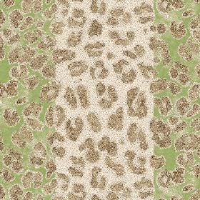 Leopard Stripe (Cotton) - 2 - Green and white striped cotton fabric with brown animal print shapes
