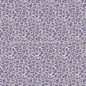 Mysa (Cotton) - 1 - White cotton fabric covered in small purple floral shapes