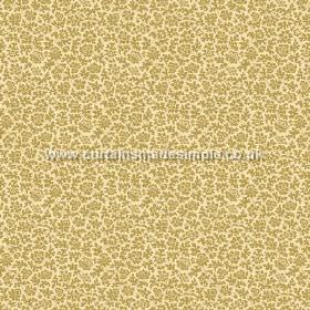 Mysa (Linen Union) - 2 - Small, olive green coloured floral shapes scattered onto light yellow linen fabric
