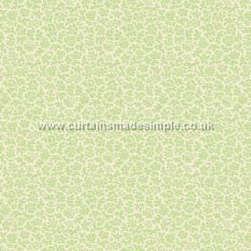 Mysa (Linen Union) - 3 - White linen fabric with a pattern of small floral shapes in a pale but bright shade of green