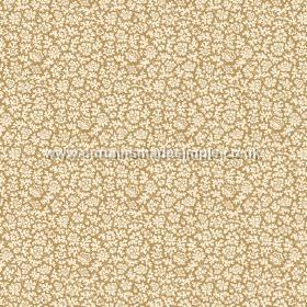 Mysa (Linen Union) - 4 - A cream coloured floral pattern made up of small shapes, on a gold-brown linen fabric background
