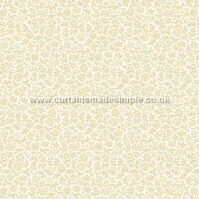 Mysa (Linen Union) - 5 - Small shapes in cream-gold, making up the floral pattern for this otherwise white linen fabric