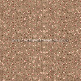 Tounga (Linen Union) - 2 - A pattern of brown, dusky red and cream circles printed onto linen fabric
