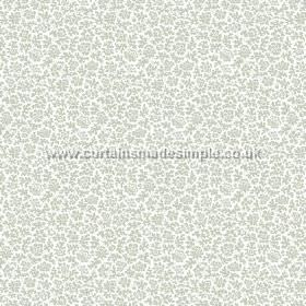 Mysa (Cotton) - 6 - Cotton fabric in white, with small grey floral shapes patterning the top