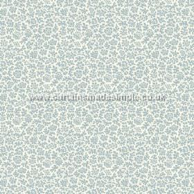 Mysa (Linen Union) - 7 - Fabric made from white linen, with a pattern of small, duck egg blue coloured flowers