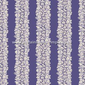 Mysa Stripe (Linen Union) - 1 - Linen fabric in a rich purple colour, with bands running down it made up of small white flowers
