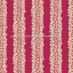 Mysa Stripe (Linen Union) - 2 - Stripes of red between stripes of cream coloured florals, printed onto linen fabric