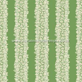 Mysa Stripe (Linen Union) - 3 - Linen fabric printed with tiny white florals arranged into stripes, against a bright green backdrop