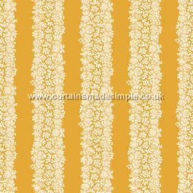 Mysa Stripe (Linen Union) - 4 - Fabric made from linen in a bright orange-yellow colour, with a stripe pattern which is made up of tiny whit