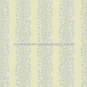 Mysa Stripe (Linen Union) - 5 - Bands of small grey floral shapes, laid over pale green and white striped linen fabric