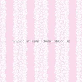 Mysa Stripe (Linen Union) - 6 - Linen fabric in light pink, with rows of small white florals