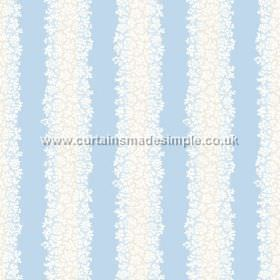 Mysa Stripe (Linen Union) - 7 - Tiny white flower shapes printed on a baby blue coloured linen fabric