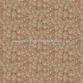 Tounga (Linen Union) - 3 - Linen fabric printed with circles in brown and two different shades of green